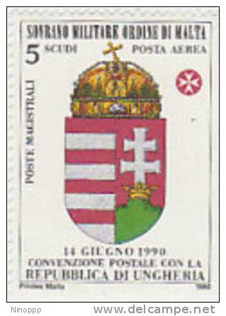 SMOM-Air Mail-1990 Postal Convention With Hungary A43 MNH - Malte (Ordre De)