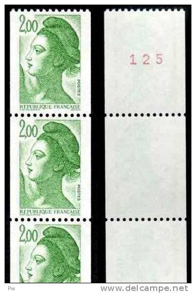 FRANCE LIBERTE DE GANDON  YT ROULETTE N° 89 (TIMBRES N° 2487, 2487a)  2,00 VERT, GOMME MATE, AVEC 3 TIMBRES NUMEROTES, * - Roulettes