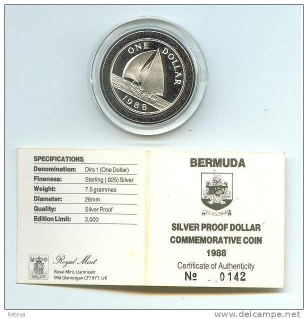 BERMUDA  1 DOLLAR ZILVER PROOF 1988 N°0142 IN ORIGINELE DOOS 3.000 EX. - Bermudes