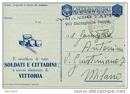 CARTOLINA POSTALE PER LE FORZE ARMATE - ESENTE DA TASSA - F/G - V - Guerra 1939-45