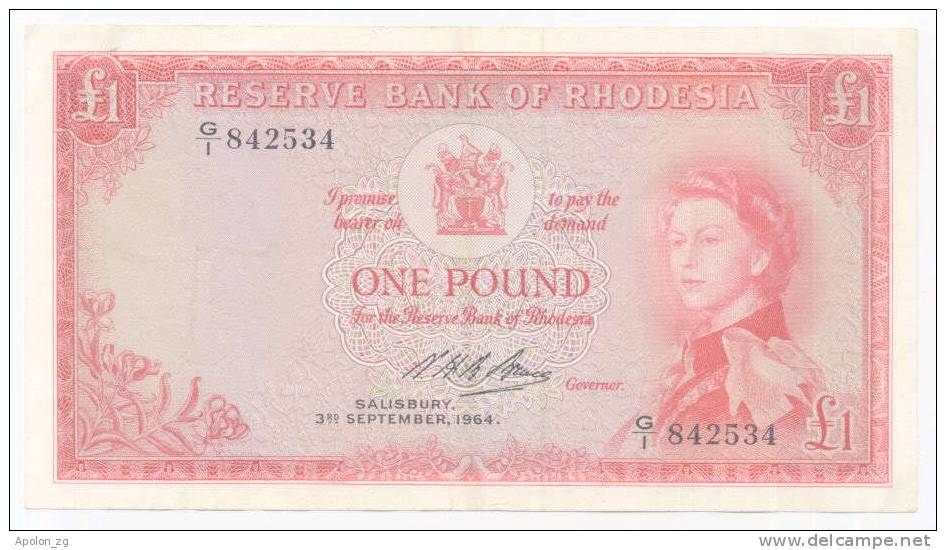 RHODESIA: 1 Pound 3.9.1964 AXF *P-25 *QUEEN ELIZABETH II*  VERY RARE BANKNOTE! - Rhodesia