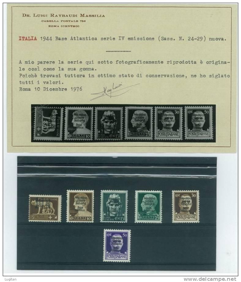 Filatelia - BASE ATLANTICA - ANNO 1944 SERIE 24/29 COMPLETA NUOVA * TL - BASE ATLANTICA - CERTIFICATA - Emissioni Locali/autonome