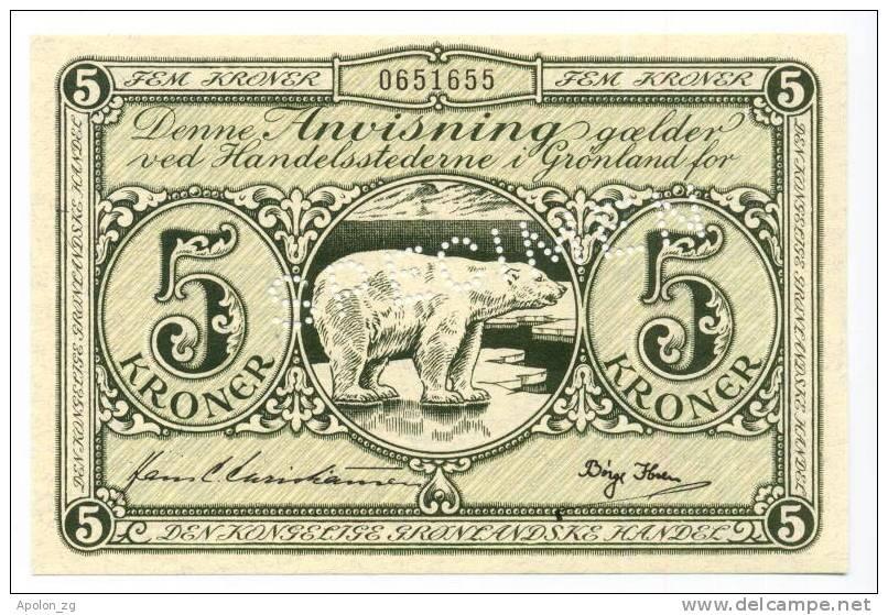 GREENLAND: 5 Kroner 1953- UNC *SPECIMEN *P18 *  RARE BANKNOTE !!! - Groenland