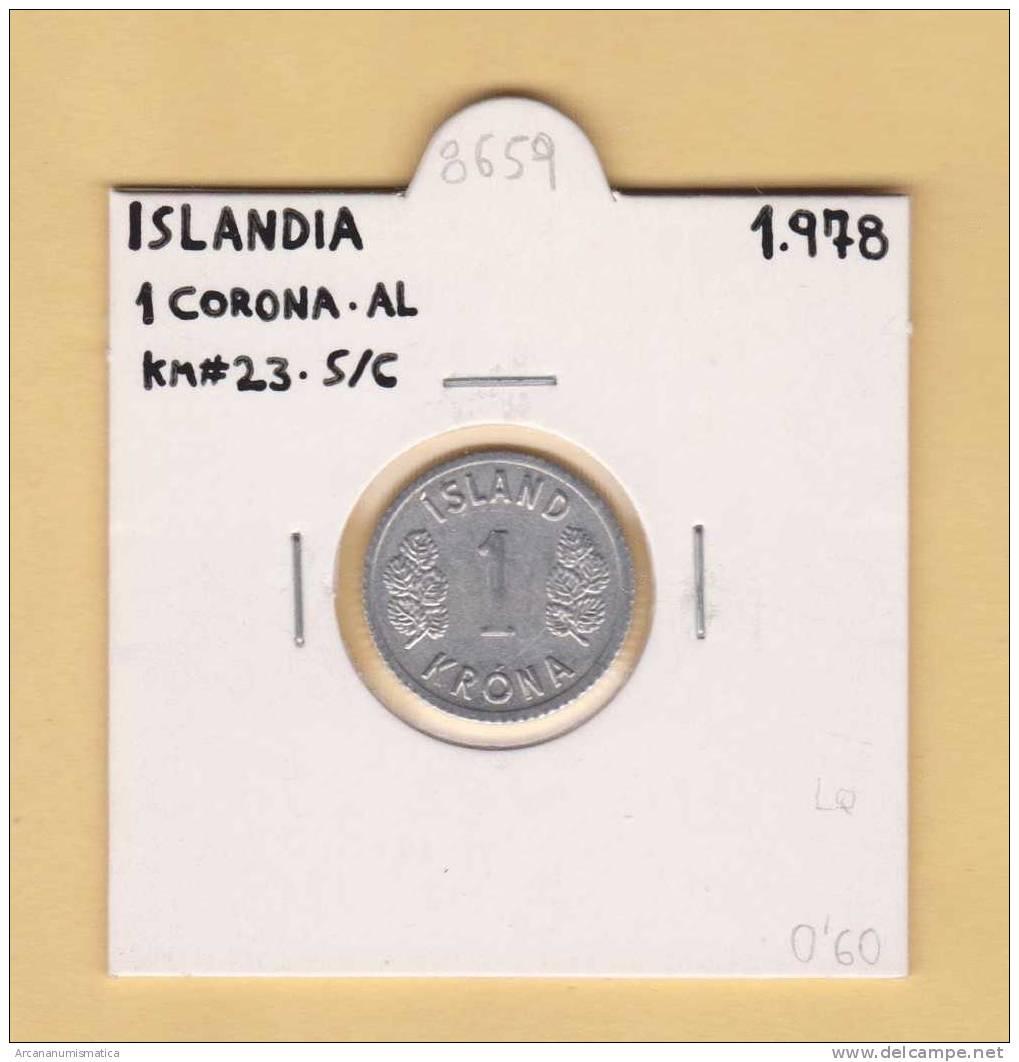 ISLANDIA   1  CORONA   1.978  AL   KM#23     SC/UNC    DL-8659 - Islandia