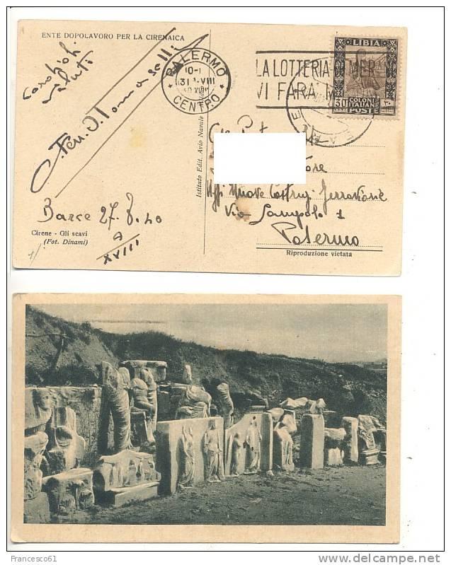 $$60 Colonie LIBIA BARCE 27-8-1940 30c Sibilla Cartolina Cirene Scavi - Libia