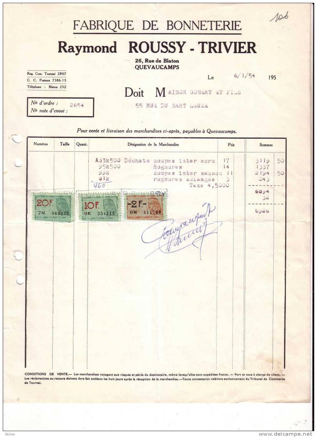 QUEVAUCAMPS RAYMOND ROUSSY TRIVIER     Fabrique De Bonneterie      6.01.1954 - Belgique
