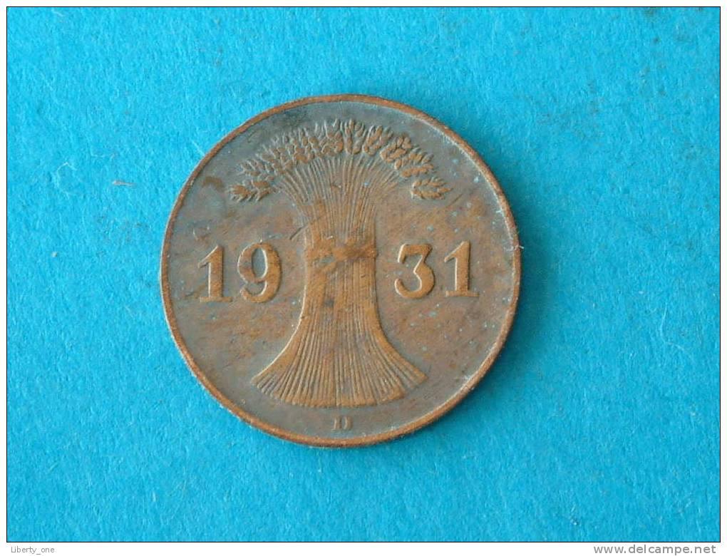 1931 D - 1 REICHSPFENNIG / KM 37 ( For Grade, Please See Photo ) !! - [ 3] 1918-1933 : Weimar Republic
