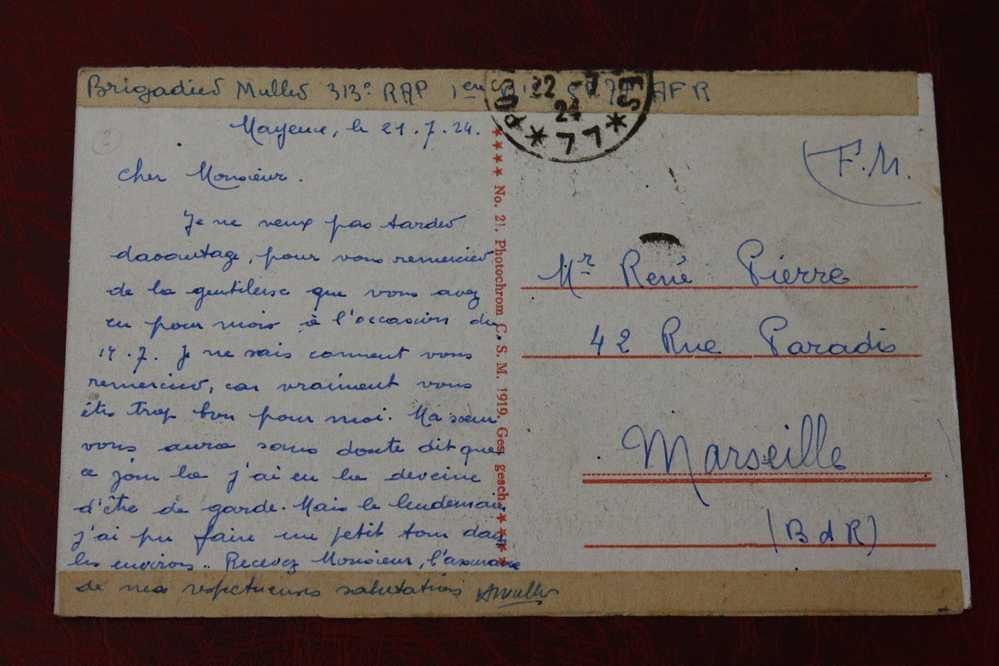 MILITARIA CPA EN FRANCHISE MILITAIRE F.M. Trésor & Postes 1924 SP 192 S/ CPA ALLEMAGNE :MAYENCE BRIGADIER MULLER 313é RA - Marcophilie (Lettres)
