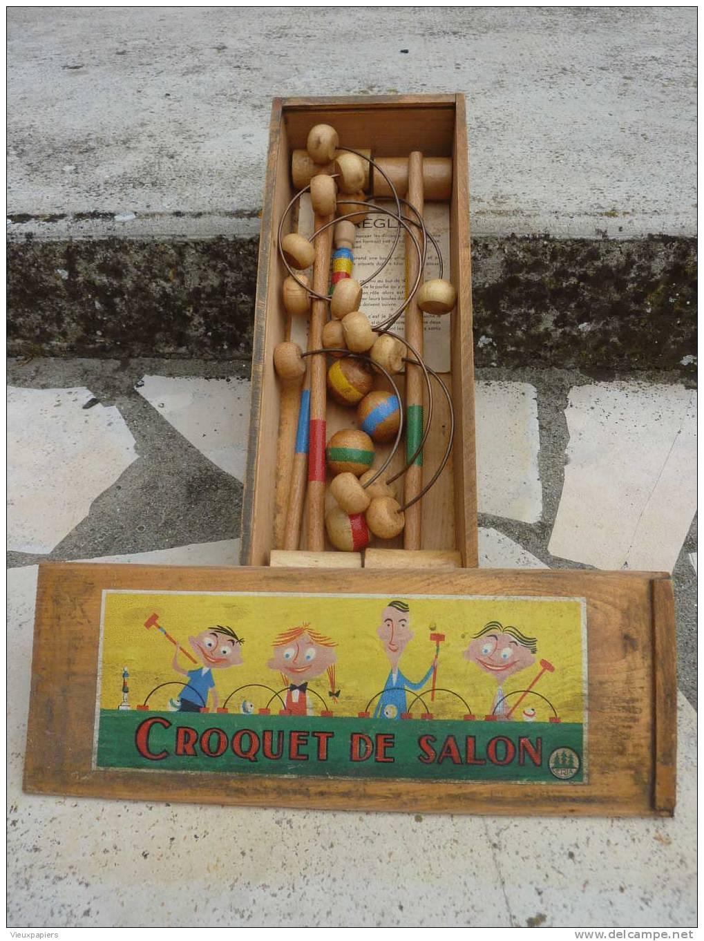 Jeu de croquet de salon complet  marque ERIA  jouet bois  jouet du  ~ Jeux De Croquet En Bois
