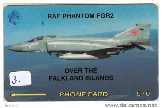 PHONECARD Falkland Islands (3) AVION * RAF * AIRPLANE * PHANTOM FGR2 * TELEFONKARTE * TELECARTE - Falkland