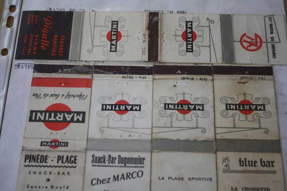 10 pochettes d allumettes etiquette seita tabac cigarettes martini pigalle vichy juan les pins