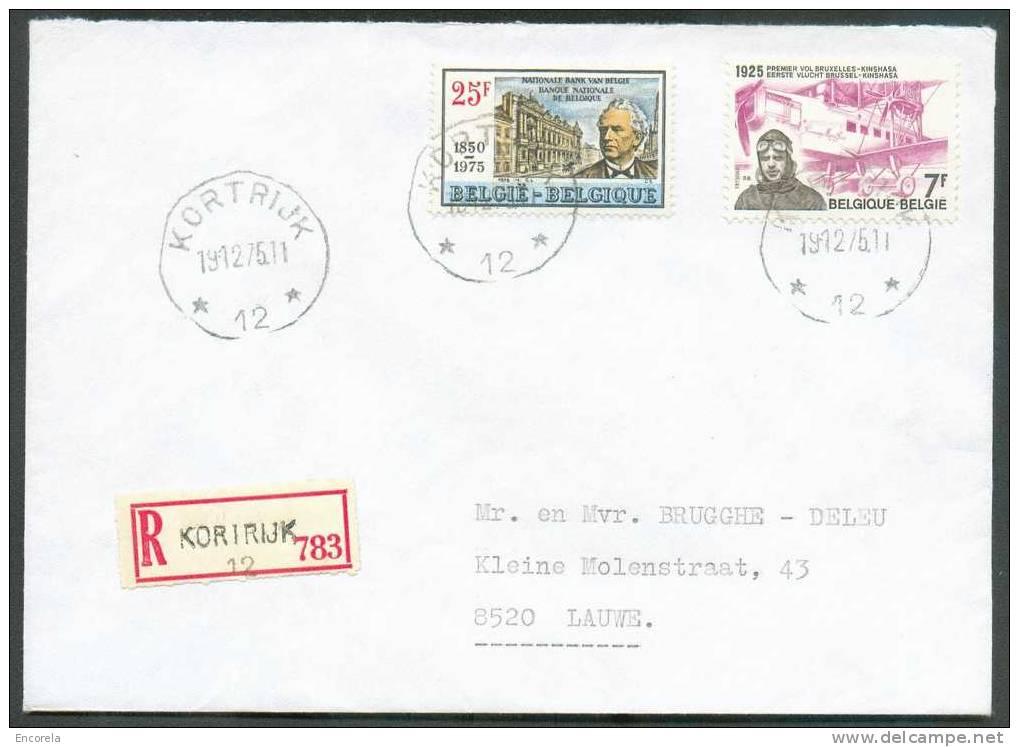N°1781-1782 Obl. Sc Agence KORTRIJK 12 * S/L. Recommandée Du 19-12-1975 Vers Lauwe.  Rare  - 5912 - Postmark Collection
