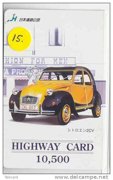Carte Prépayée Vieille Voiture CITROEN (15) Oldtimer Japon Prepaid Card Auto Car - Cars