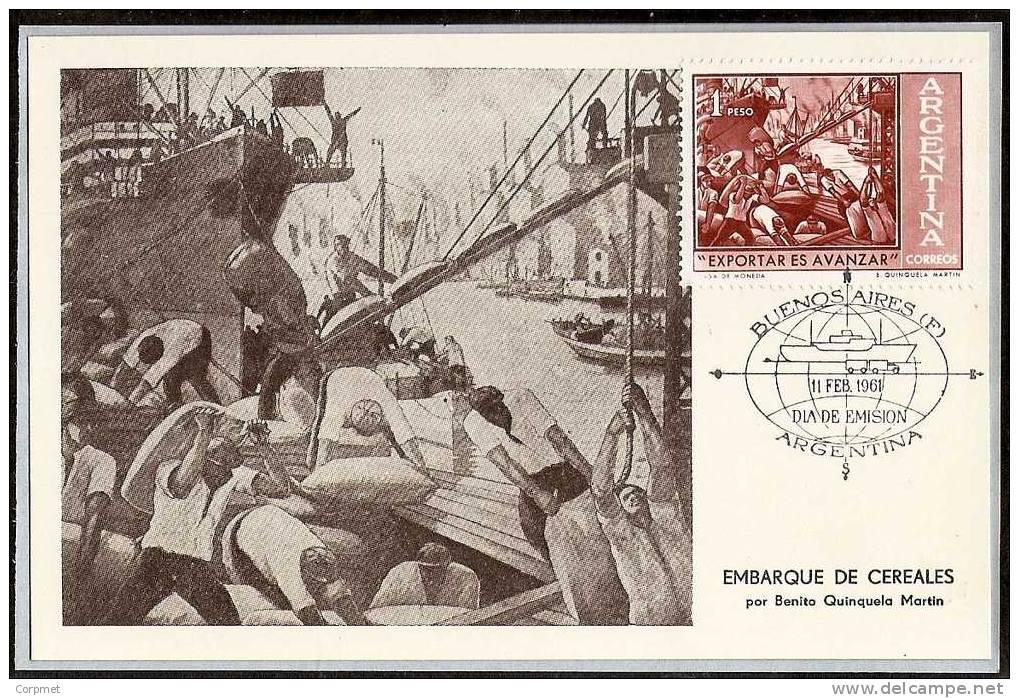 ARGENTINA - 1961 FD CARD - MAXIMUM CARD - QUINQUELA MARTIN PAINTER - Exportar Es Avanzar - GRAINS EMBARQUEMENT - Ohne Zuordnung