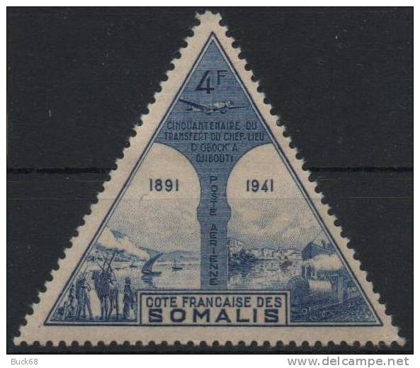 COTE DES SOMALIS Poste Aérienne 12 * MLH Transfert OBOCK ==> DJIBOUTI - French Somali Coast (1894-1967)