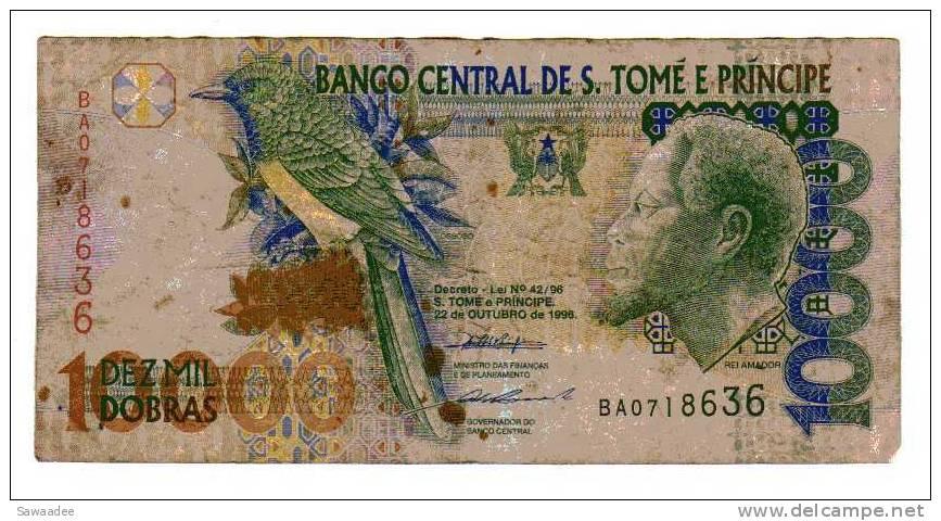 BILLET SAO TOME ET PRINCIPE - P.66 - 22/10/1996 - 10000 DOBRAS - OISEAU - PONT - Sao Tomé Et Principe