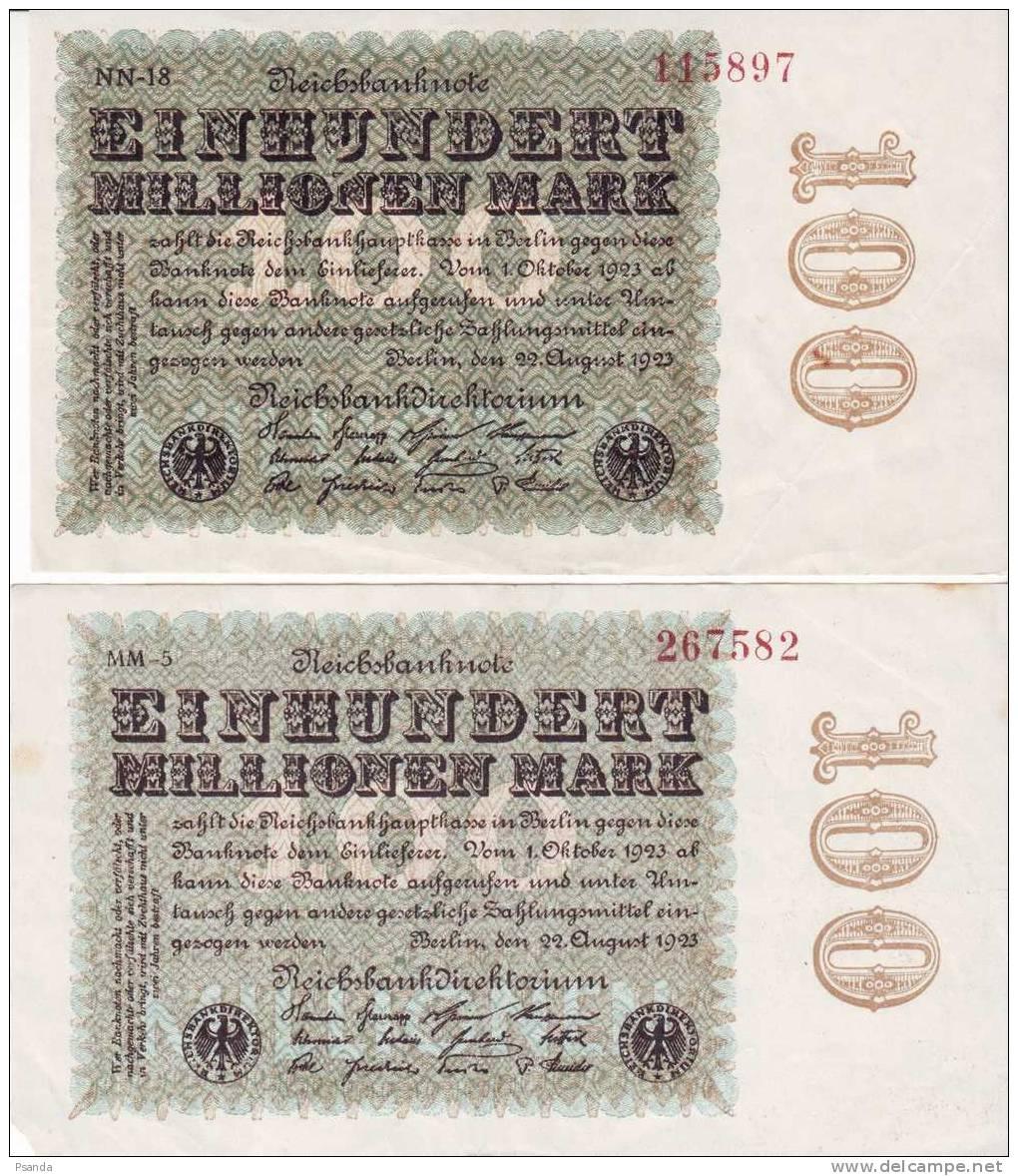 Germany 1923 100 Milion Mark 2pcs NN-18, MM-5defective - [ 3] 1918-1933 : República De Weimar