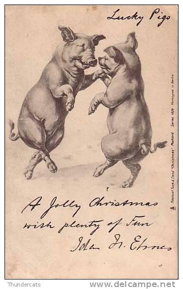 CPA COCHON COCHONS ** PIG PIGS ** ILLUSTRATEUR RAPHAEL TUCK SERIES 1828 - Cochons