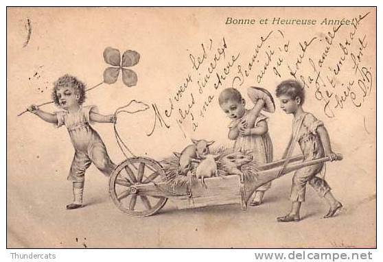 CPA COCHON COCHONS ** PIG PIGS ** CHILDREN ENFANTS ART NOUVEAU ILLUSTRATEUR M M VIENNE NR 123 - Cochons