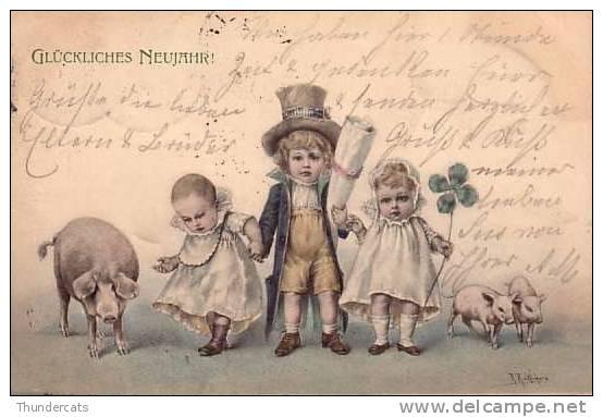 CPA COCHON COCHONS ** PIG PIGS ** CHILDREN ENFANTS ART NOUVEAU ILLUSTRATEUR M M VIENNE WICHERA - Cochons