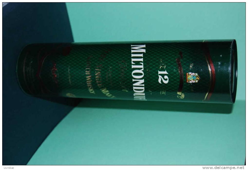 Boîte Carton Et Métal Scotch Whisky, Pure Single Malt, MILTONDUFF GLENLIVET, Product Of Scotland, Elgin - Champagne & Mousseux