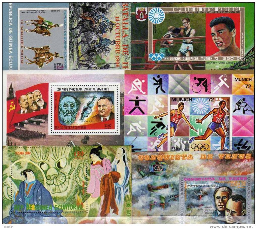 Puzzle Äqatorial Guinea 10 Block **/o 42€ Easter, Kunst, Sport, Raumfahrt, Reiten, Venus, Gemälde, Olympic - Colecciones (en álbumes)