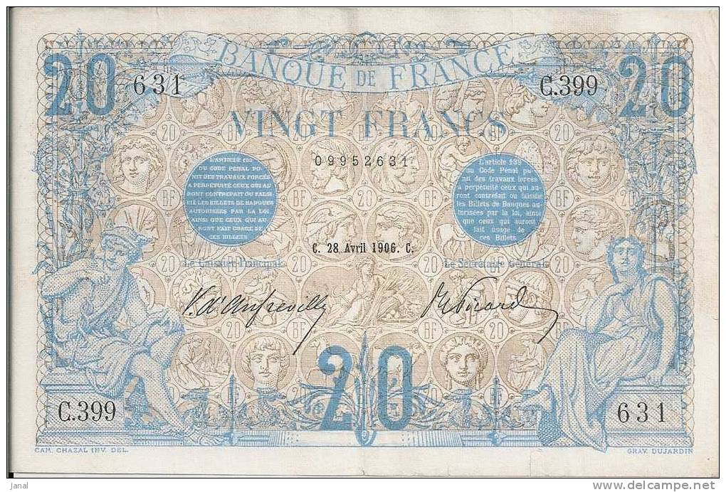 -  FRANCE - BILLET - 20 F - BLEU - C - 28 AVRIL 1906 - C  - N° 631 - - 20 F 1905-1913 ''Bleu''