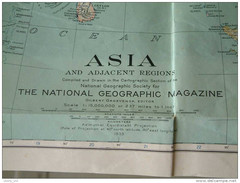 ASIA - Azië ( Copyright 1933 By The National Geographic Society, Washington, D.C. ) See Photo For Details ! - World