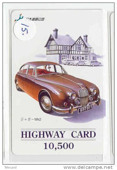 Carte Prépayée Japonaise JAGUAR (15) OLDTIMER Voiture Car Auto Phonecard Japon - Auto's