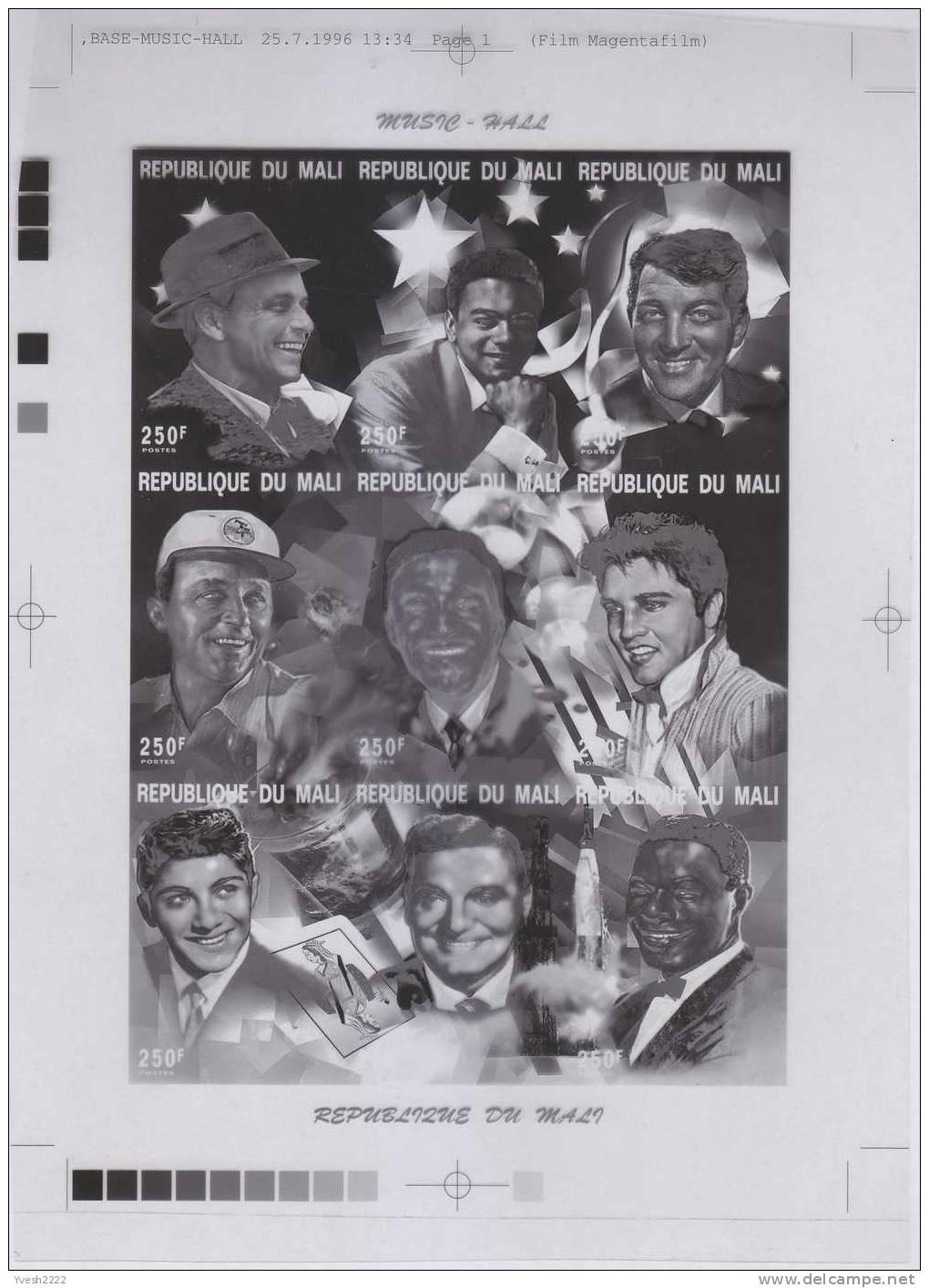 Mali 1997. Set Of 4 Offset Printing Films : Black, Yellow, Cyan & Magenta. Music Hall. Sinatra, Dean Martin, Elvis,... - Music