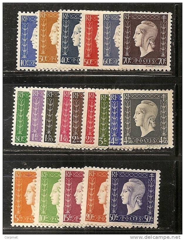 FRANCE - 1945 - Série De Londres - Marianne De Dulac -  Yvert # 682/701 (20 Val.)  - MINT (LH) - 1944-45 Marianne (Dulac)