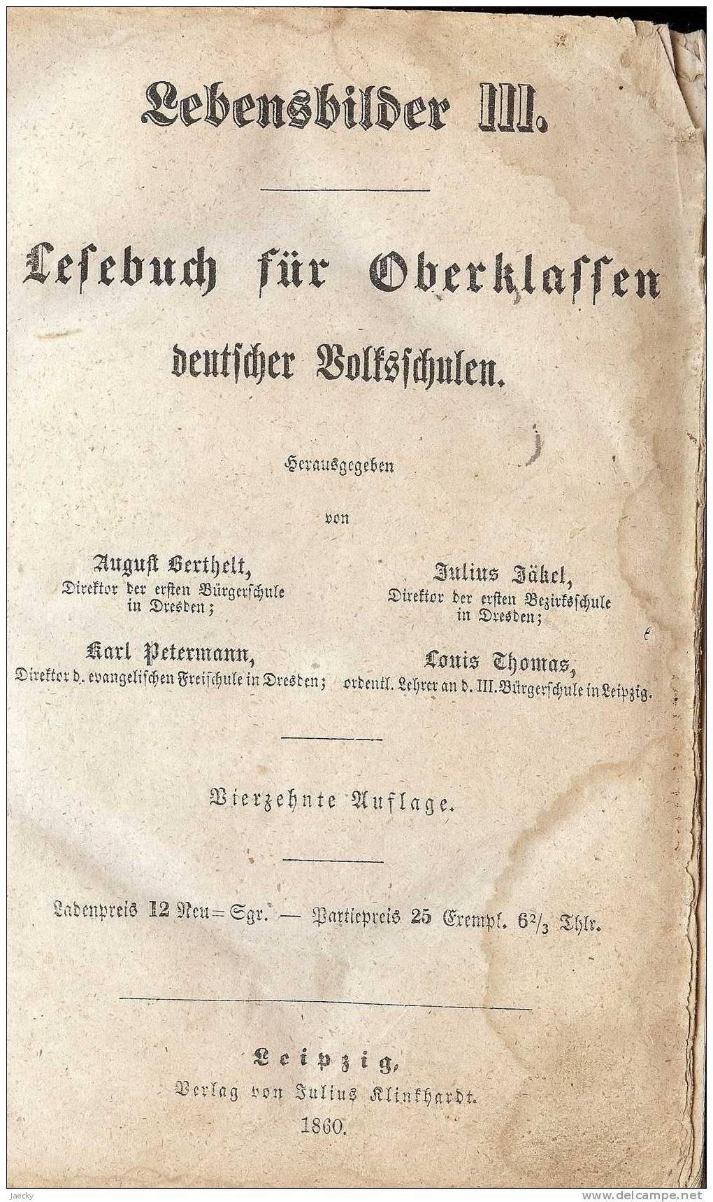 Lesebuch Für Oberklassen Deutscher Volksschulen 1860 - Schulbücher