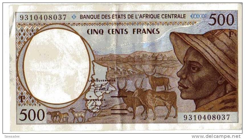 """BILLET CENTRE AFRIQUE - BANQUE DES ETATS DE L""""AFRIQUE CENTRALE - P.301F - 1993 - BAOBAB - ANTILOPES - VACHES - Central African Republic"""
