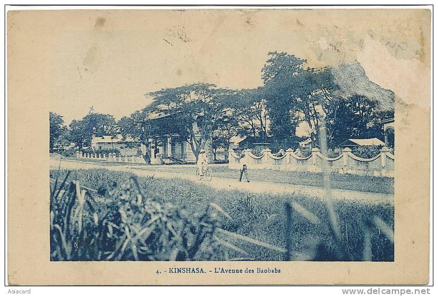 Kinshasa 4 Avenue Des Baobabs Timbre Decollé Au Recto - Kinshasa - Léopoldville