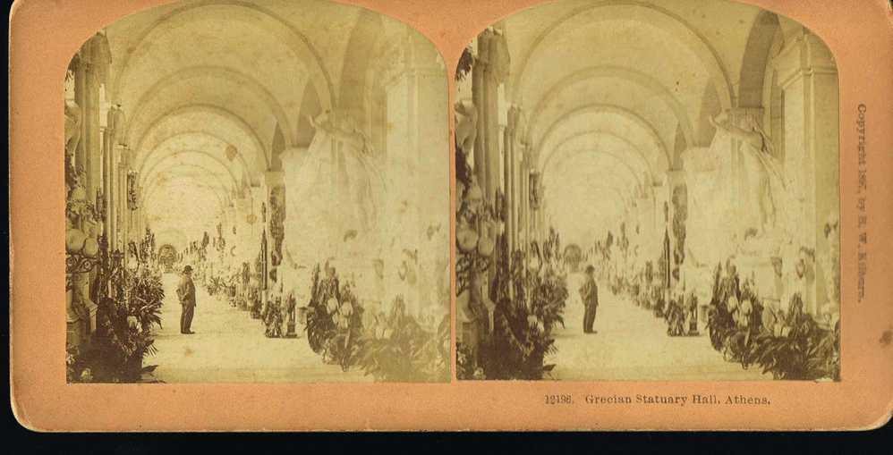 PHOTO STEREO - Copyright 1897 By B.W KILBURN  -Grecian Statuary Hall ATHENS - - Photos Stéréoscopiques