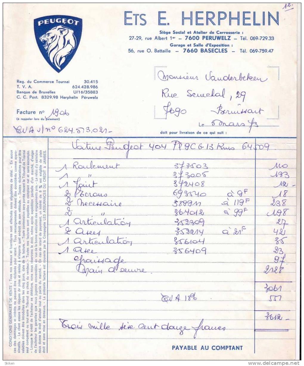 BASECLES  ETS E. HERPHELIN  Peugeot  5.03.1973 - Belgique