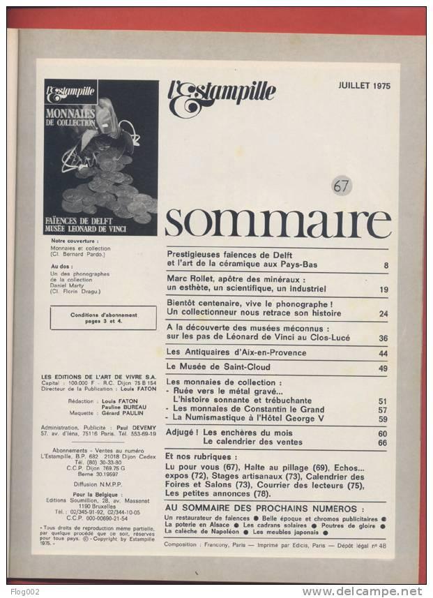 Revue L´Estampille 67 : L´histoire Des Monnaies De Constantin, Faîences De Delft,  Musée De Vinci , Phonographes, - Monnaies Antiques