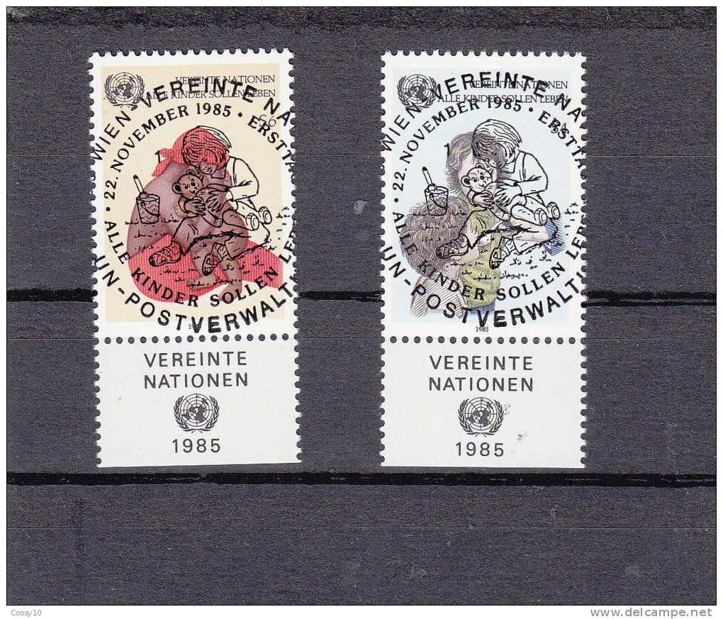NATIONS  UNIES  VIENNE   1985  N° 53 -  54   OBLITERATIONS CENTRALES - Centre International De Vienne