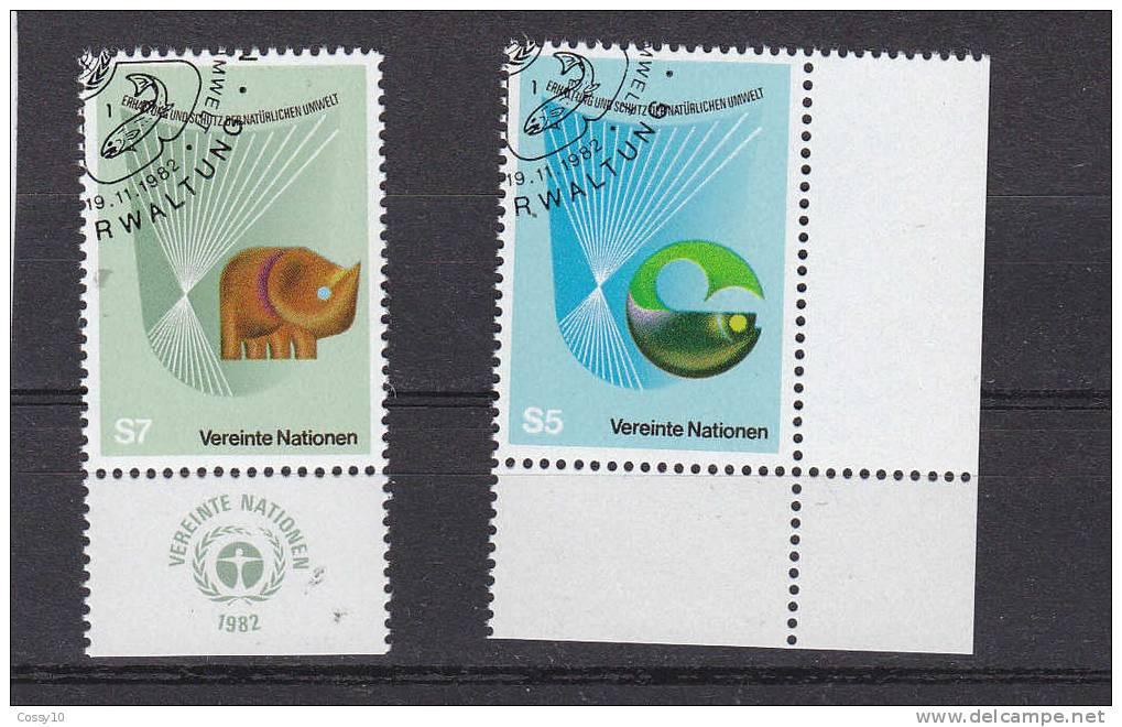 NATIONS  UNIES  VIENNE   1982    N°27 -  28   OBLITERES     CATALOGUE YVERT - Centre International De Vienne