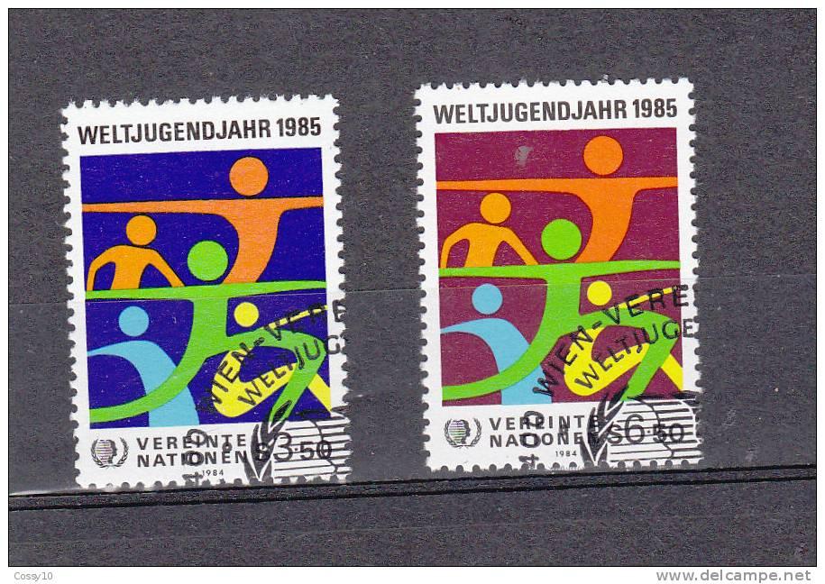 NATIONS  UNIES  VIENNE   1984    N° 45 - 46   OBLITERES    CATALOGUE YVERT - Centre International De Vienne