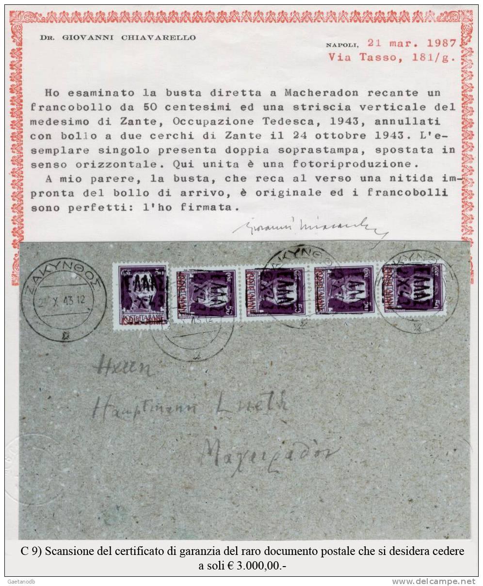 Grecia-Isole Ionie (Zante-occ.ted.)-9 - RARO DOCUMENTO POSTALE DEL 1943 - - Isole Ioniche