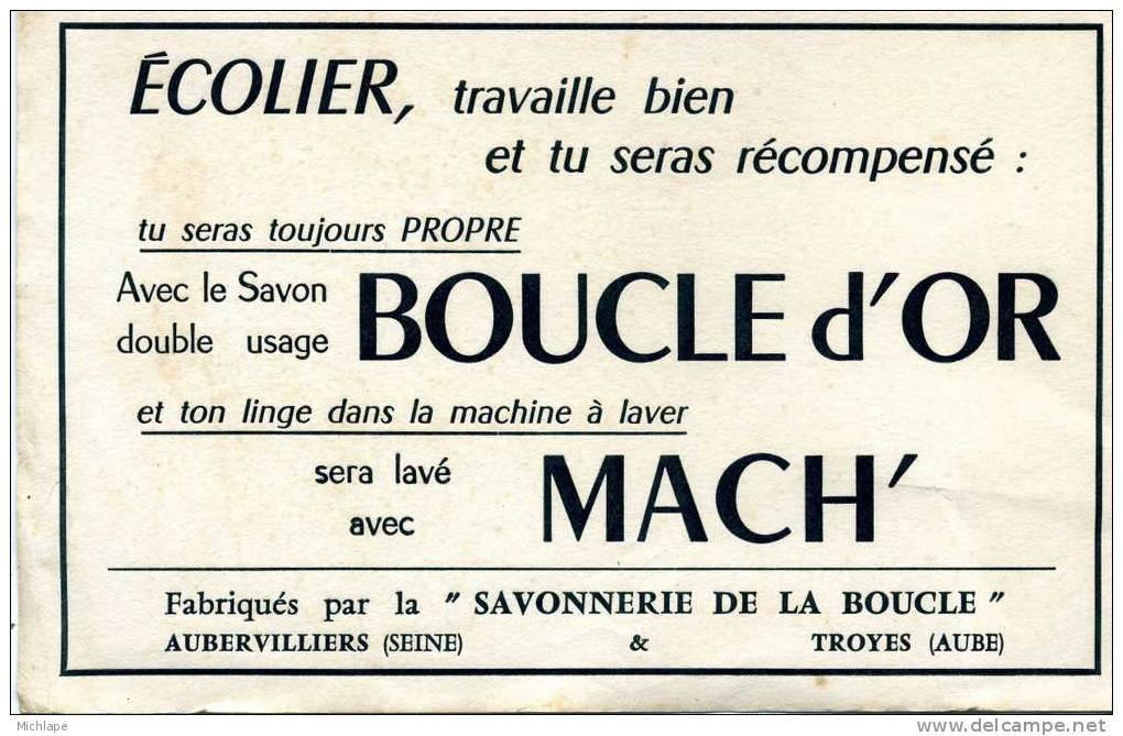 BUVARD  SAVON  BOUCLE D'OR 13X21 - Buvards, Protège-cahiers Illustrés
