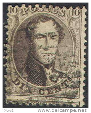 Belgium   14c, Used    SCV$ 4.00,     (bel014c-4,   Michel  11B  Perf 12 1/2 X 13 1/2 - 1863-1864 Medallions (13/16)