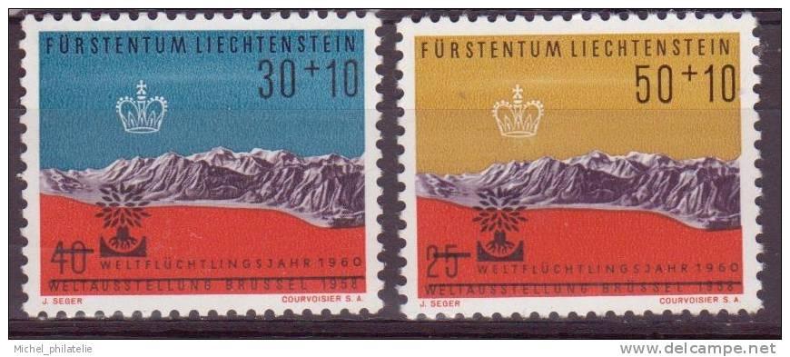 LIECHTENSTEIN N°353-354** NEUF SANS CHARNIERE  ANNEE MONDIALE DU REFUGIE - Liechtenstein
