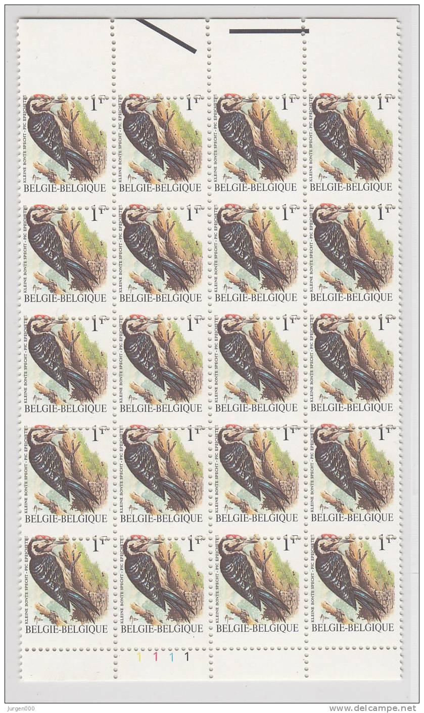 Nr 2349 (20) **, Slechts 50 Exemplaren Gekend !, Grootste Blok Met Plaatnummer !!! (LX) - 1985-.. Oiseaux (Buzin)