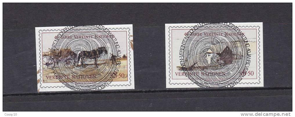 NATIONS  UNIES  VIENNE   1985    N° 51 - 52  DECOUPE DU BLOC  OBLITERATION  CENTRALE    CATALOGUE YVERT - Centre International De Vienne