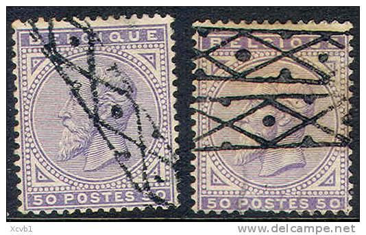 Belgium   48 & 48a, Used,  ROLLLER CANCEL, (bel048-4,   Michel  38, 13-FR - 1883 Leopold II