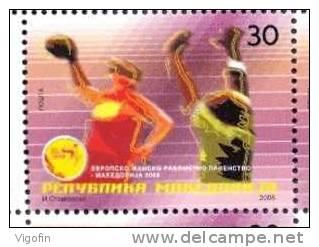 MK 2008-482 EU CHAMPIONSHIP IN HANDBALL FOR WOMAN, MACEDONIA, 1 X 1v, MNH - Balonmano