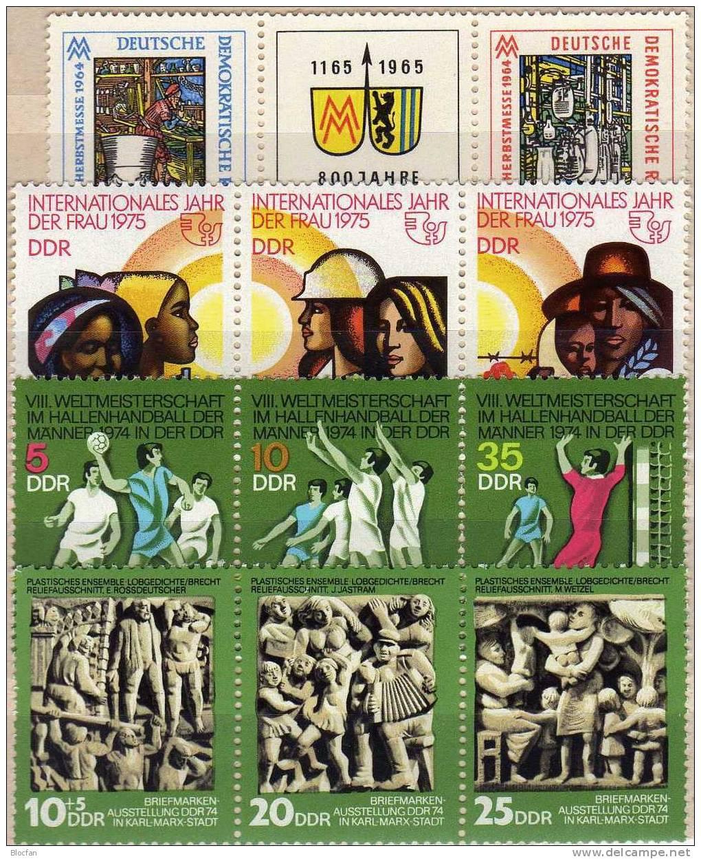 ZD Im Dreierstreifen I-IV DDR 1052/3,1928/0,1988/9,2019/1+ 4ZD ** 12€ Kultur, Sport, Messe, Frauen - Hand-Ball