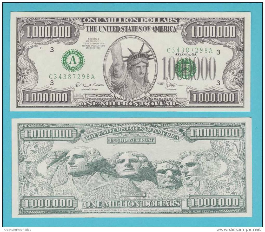 ESTADOS UNIDOS   U.S.A.  1.000.000  DOLLARS  1.996  (fantasy Banknote)  SC/UNC/PLANCHA    DL-9536 - Verenigde Staten